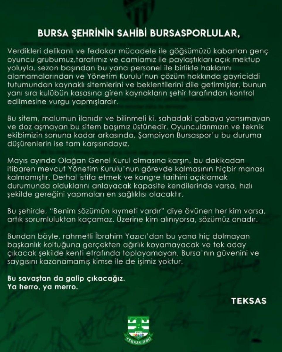 Bursaspor taraftarı yönetimi istifaya davet etti #2